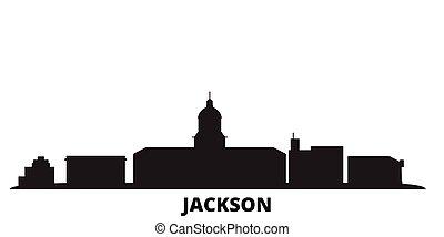 United States, Jackson city skyline isolated vector illustration. United States, Jackson travel black cityscape