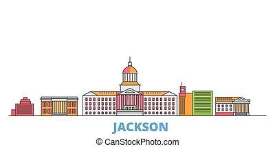 United States, Jackson line cityscape, flat vector. Travel city landmark, oultine illustration, line world icons
