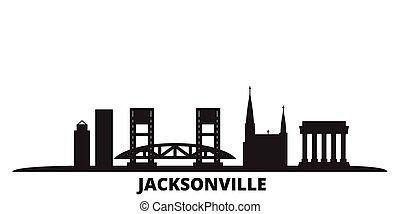 United States, Jacksonville city skyline isolated vector illustration. United States, Jacksonville travel black cityscape