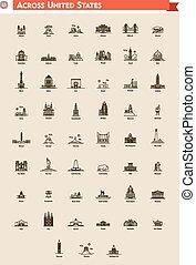 United States landmarks set - Icon set represents each state...