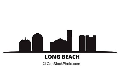 United States, Long Beach city skyline isolated vector illustration. United States, Long Beach travel black cityscape