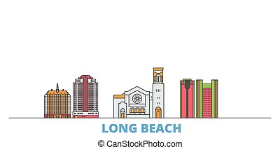 United States, Long Beach line cityscape, flat vector. Travel city landmark, oultine illustration, line world icons