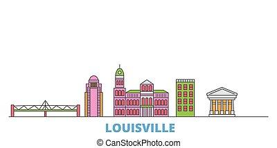 United States, Louisville line cityscape, flat vector. Travel city landmark, oultine illustration, line world icons