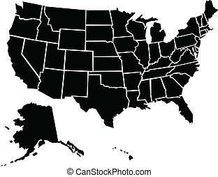 A chunky, cartoon map of the USA including Alaska and Hawaii. Map source: in Adobe Illustrator CS3 on 4/04/2009.