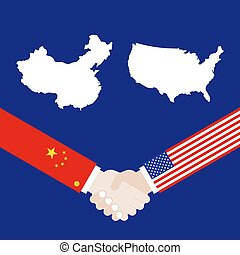 United states map and China map with shaking hands vector