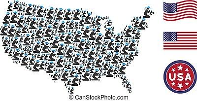 United States Map Collage of Gentleman Pray