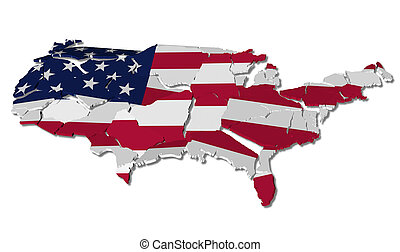 United States map cracked, conceptual representation of...