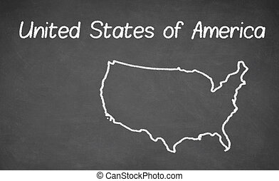 Stock Illustration Of United States Map Drawn On Chalkboard Chalk - Us map chalkboard