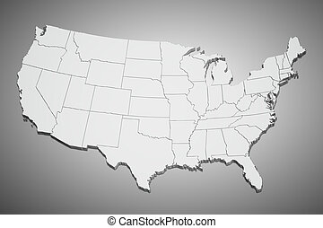 United States map on gray - Map of the continental United ...