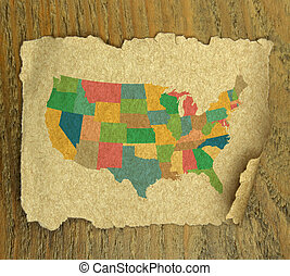 United States map on vintage paper texture