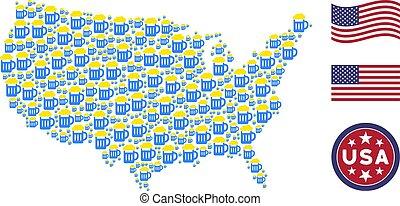 United States Map Stylization of Beer Glass - Beer glass...