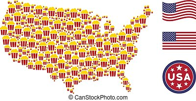 United States Map Stylized Composition of Popcorn Bucket