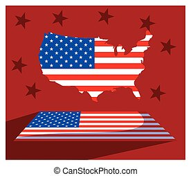 united states map with flag, president day card
