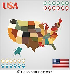 United States map with separated states, flag and geo -...