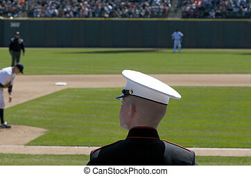 United States Marine at Baseball Game