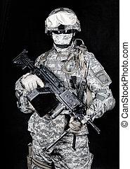 United States marines machine gunner studio shot