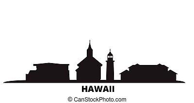 United States, Maui city skyline isolated vector illustration. United States, Maui travel black cityscape