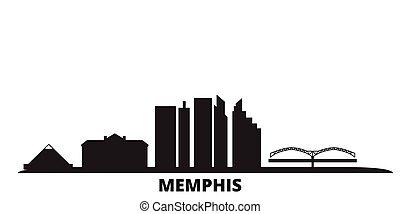 United States, Memphis city skyline isolated vector illustration. United States, Memphis travel black cityscape