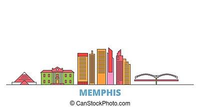 United States, Memphis line cityscape, flat vector. Travel city landmark, oultine illustration, line world icons