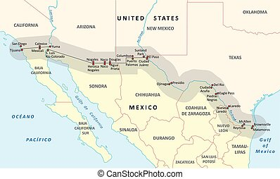 united states-mexico border map
