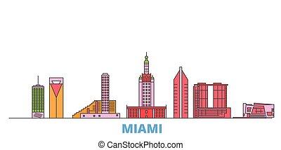 United States, Miami line cityscape, flat vector. Travel city landmark, oultine illustration, line world icons