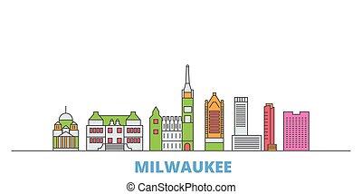 United States, Milwaukee City line cityscape, flat vector. Travel city landmark, oultine illustration, line world icons