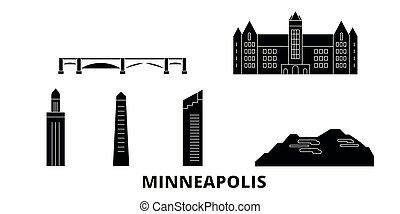 United States, Minneapolis flat travel skyline set. United...