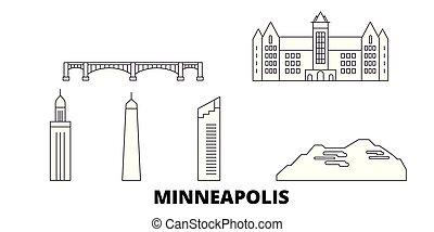 United States, Minneapolis line travel skyline set. United...