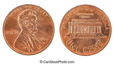 United States money. One cent coin (2006). Obverse and reverse isolated over white