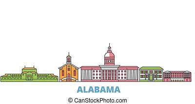United States, Montgomery line cityscape, flat vector. Travel city landmark, oultine illustration, line world icons