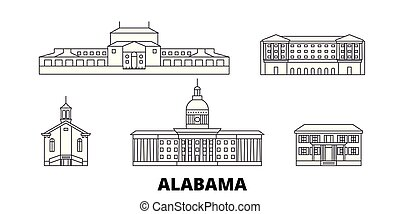United States, Montgomery line travel skyline set. United States, Montgomery outline city vector illustration, symbol, travel sights, landmarks.