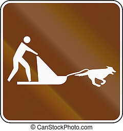 United States MUTCD guide road sign - Dog sleds.