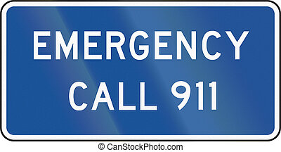 United States MUTCD guide road sign - Emergency call