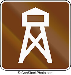 United States MUTCD guide road sign - Lookout tower.