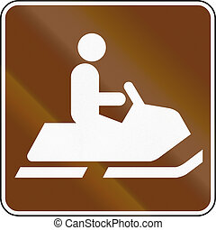 United States MUTCD guide road sign - Snowmobile