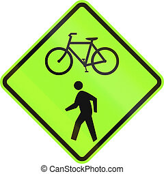 United States MUTCD road sign - Cycles and pedestrians.