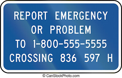 United States MUTCD road sign - Emergency number
