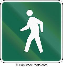 United States MUTCD road sign - Pedestrian route