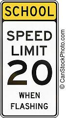 United States MUTCD school zone road warning sign - Speed limit