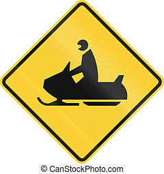 United States MUTCD warning road sign - Snowmobile