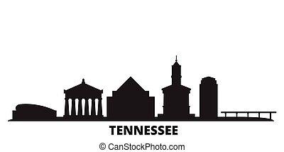 United States, Nashville city skyline isolated vector illustration. United States, Nashville travel black cityscape