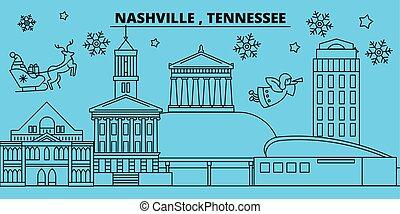 United States, Nashville winter holidays skyline. Merry Christmas, Happy New Year decorated banner with Santa Claus. United States, Nashville linear christmas city vector flat illustration