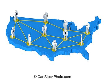 United States networking lines - Rendered artwork with white...