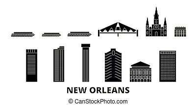 United States, New Orleans flat travel skyline set. United States, New Orleans black city vector illustration, symbol, travel sights, landmarks.