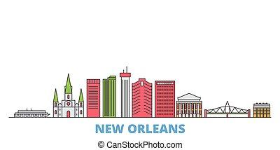 United States, New Orleans line cityscape, flat vector. Travel city landmark, oultine illustration, line world icons