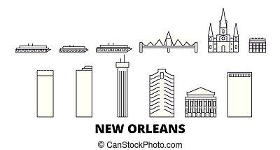 United States, New Orleans line travel skyline set. United States, New Orleans outline city vector illustration, symbol, travel sights, landmarks.