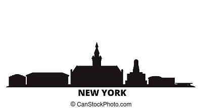 United States, New York Buffalo city skyline isolated vector illustration. United States, New York Buffalo travel black cityscape