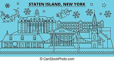 United States, New York Staten Island winter holidays skyline. Merry Christmas, Happy New Year with Santa Claus. United States, New York Staten Island linear christmas city vector flat illustration