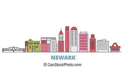 United States, Newark line cityscape, flat vector. Travel city landmark, oultine illustration, line world icons
