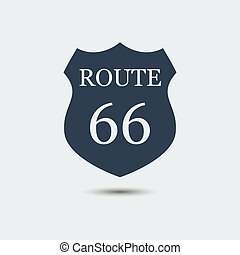 United States Numbered Route 66 Icon. Vector Illustration